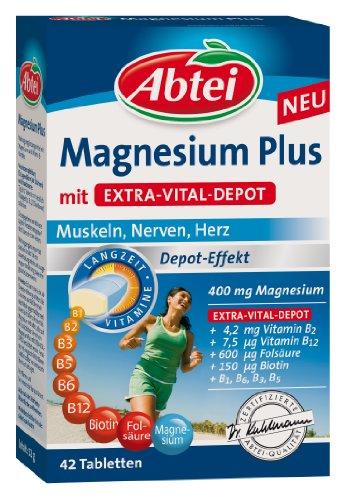 Abtei Magnesium Plus mit Extra-Vital-Depot, 42 Stück, 1-er Pack (1 x 52 g) - 1